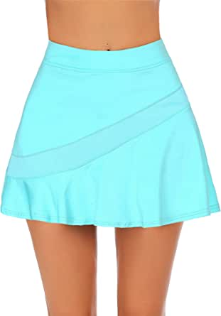 Ekouaer Women's Athletic Golf Skorts Lightweight Skirt Pleated with Pockets for Running Tennis Workout