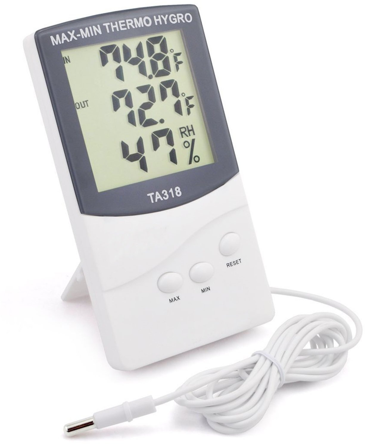 GPCT [2-In-1] Digital [Thermometer/Hygrometer] Temperature Gauge Meter. Indoor/Outdoor Humidity Monitor/LCD Display/Celsius/Fahrenheit. Records Min/Max Temperature! Great for Home/Living Room/Office