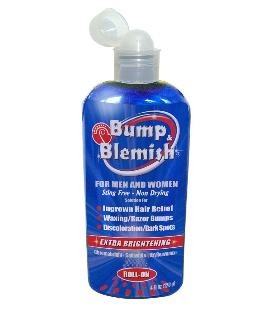 BUMP & BLEMISH-0.4 Oz (12 ml) ROLL-ON Solution for all hair removal complications: razor bumps (Pseudofolliculitis Barbae or PFB), razor burn, ingrown hairs AND the dark hyperpigmented spots they leave behind. Extra brightening formula. LAVENDER FORMU