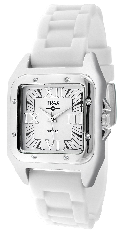 Trax Women's TR5132-WW Posh Square White Rubber White Dial Watch