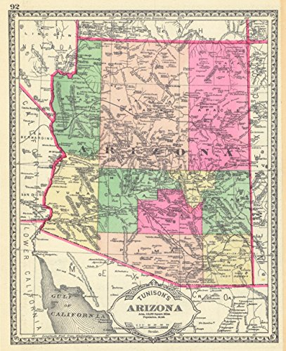 (Home Comforts Peel-n-Stick Poster of Map of Arizona Territory Map, 1881 Poster 24x16 Adhesive Sticker Poster Print)