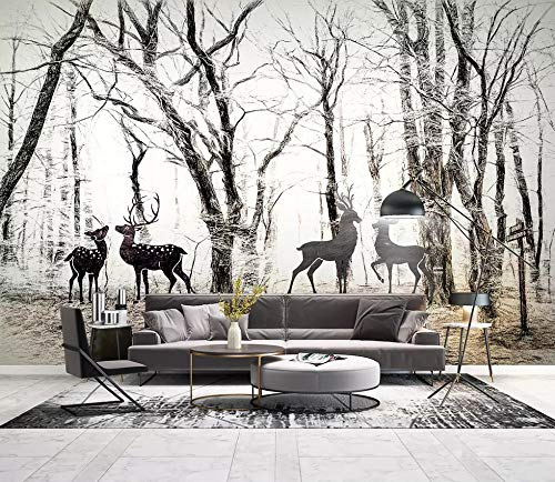 Custom Wallpaper 3D Wilderness Forest Elk Animal Art Wall Mural Living Room Bedroom Wallpaper,150Cm (H) X 230Cm (W)