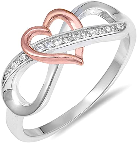 Rose Gold /& Silver Tone Cubic Zirconia Engagement /& Wedding Ring SIZE 5-10 NEW