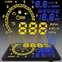 5.5 Car OBD2 II EUOBD car HUD Head Up Display with Over speed Warning System, Projector Windshield Auto Electronic Voltage Alarm, Bracket, with Mufti color LED Screen(blue)