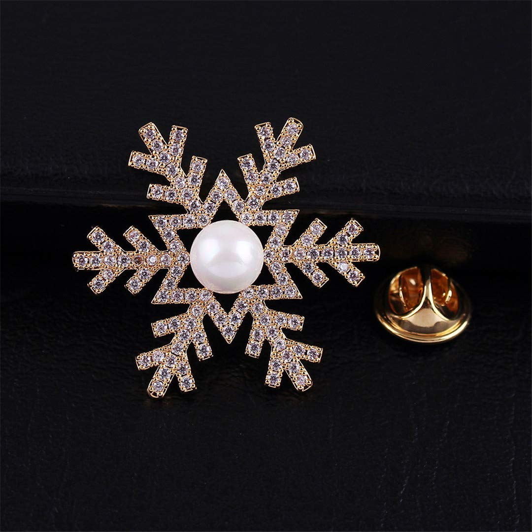 Cubic Zirconia Snowflake Collar Pins For Women And Men Unisex Fashion Brooch Pin Copper Jewelry Gift gold