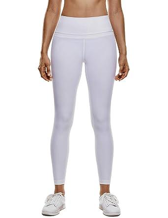 CRZ YOGA Femme Legging de Sport Pantalons Yoga Taille Haute En Tissu Léger  Avec Poche Blanc 2b6163c8278