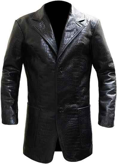 Alligator embossed leather jacket