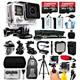 GoPro HERO4 Hero 4 Black Edition 4K Action Camera Camcorder with 2x Micro SD Cards, 2x Battery & Charger, Backpack, Helmet Strap, Handle, Car Mount, Selfie Stick, Tripod, Travel Case and more