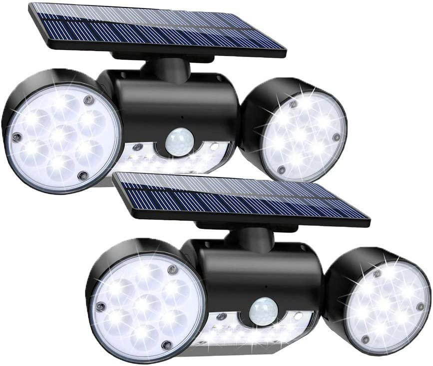 Solar Lights Outdoor, 30 LED Solar Security Lights with Motion Sensor Dual Head Spotlights IP65 Waterproof 360 Adjustable Solar Motion Lights Outdoor for Front Door Yard Garden Garage Patio Deck