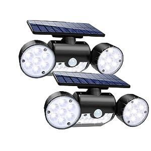 LED Solar Lights Outdoor with Motion Sensor Dual Head Spotlights