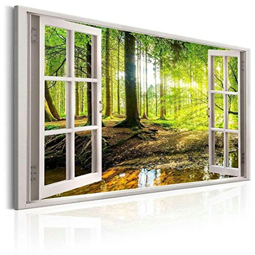 Canvas Prints Wall Art Paintings Green Tree Open Window Wall Muraland Forest and Framed Artwork Ready to Hang for Home Decorations Wall Decor