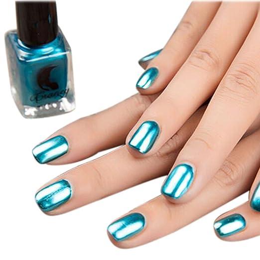 Esmalte De Uñas Samlike Efecto Espejo Recubrimiento Plateado Metálico Color Acero Inoxidable Para Manicura Azul