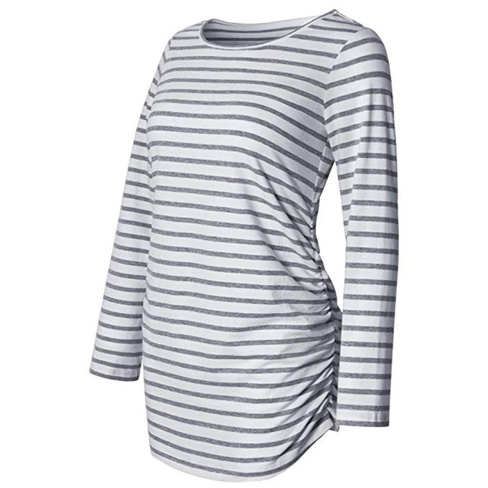 NINGSANJIN Maternity Sommer Umstandsmode T-Shirt Langarm Shirt Damen Klassische Seite ger/üscht Tops Schwangerschaft Umstands Shirt Kleidung Pullover Bluse