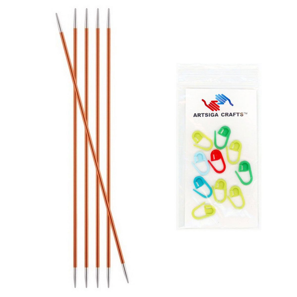 Bundle with 10 Artsiga Crafts Stitch Markers 140002 Knitters Pride Zing Double Pointed Knitting Needles 6in 2.25mm Size US 1
