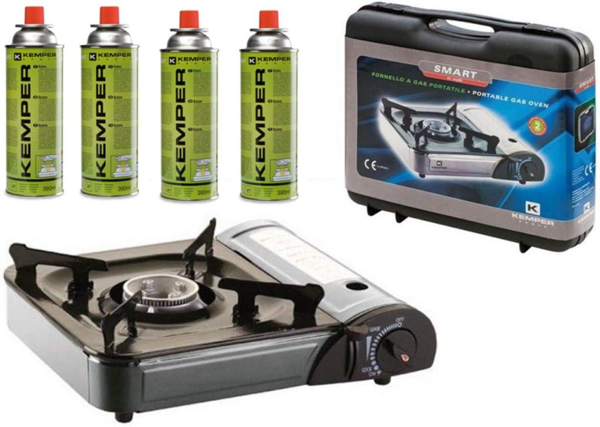 Kemper - Hornillo de gas portátil con encendido piezo eléctrico + 4 cartuchos de gas