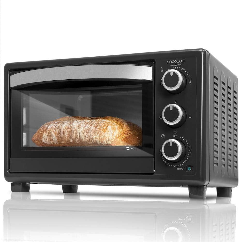 Cecotec Horno Sobremesa Bake&Toast 550. 1500 W, Capacidad de 23 Litros, 3 Modos de calor, No Convección, Temperatura hasta 230ºC, Luz interior, Puerta ...