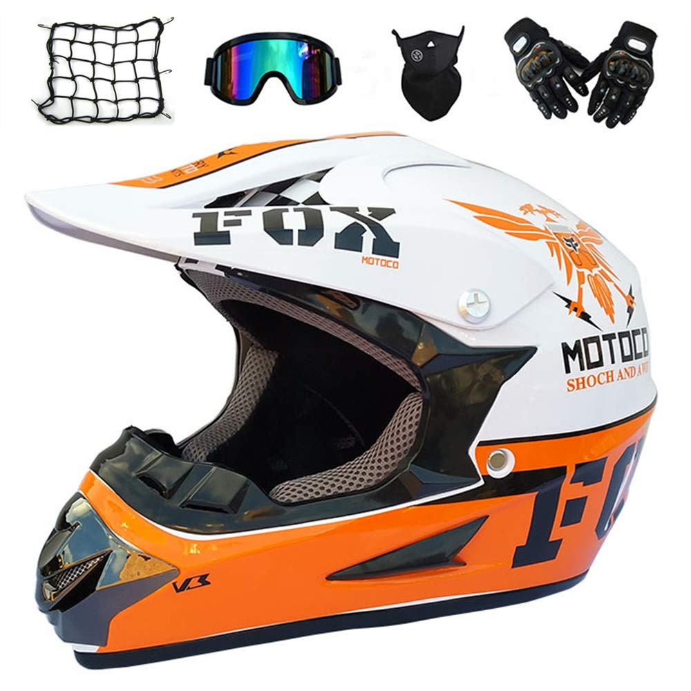 Crosshelm Kind Full Face MTB Helm Motorradhelm Schutzhelm f/ür Downhill Enduro Sport Sicherheit Schutz - Wei/ß und Orange MRDEAR Motocross Helm mit Brille 5 St/ück