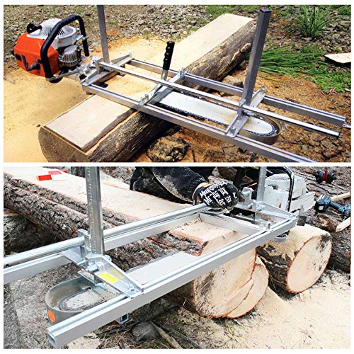 CO-Z Portable Chainsaw Mill Planking Milling 14 Inches to 48 Inches Guide Bar Wood Lumber Cutting Sawmill Aluminum Steel Chainsaw Mill for Builders and Woodworkers