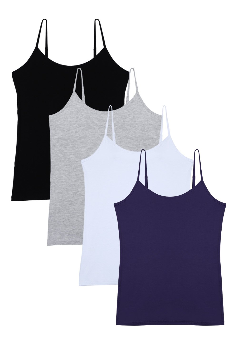 Vislivin Women's Basic Solid Camisole Adjustable Spaghetti Strap Tank Top Black/Gray/White/Dark Blue L