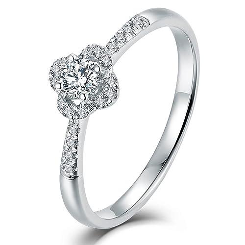 Top venta genuino brillante diamante anillos de boda 18 K oro blanco para mujer joyas