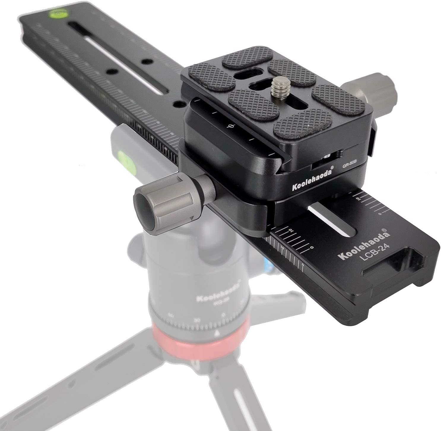 koolehaoda 240mm Professional Rail Nodal Slide Metal Quick Release Clamp,Dual Dovetail Camera Bracket Mount with Double-Sided Clamp can be Rotated 90/° for Camera with Arca Swiss Compatible. LCB-24R