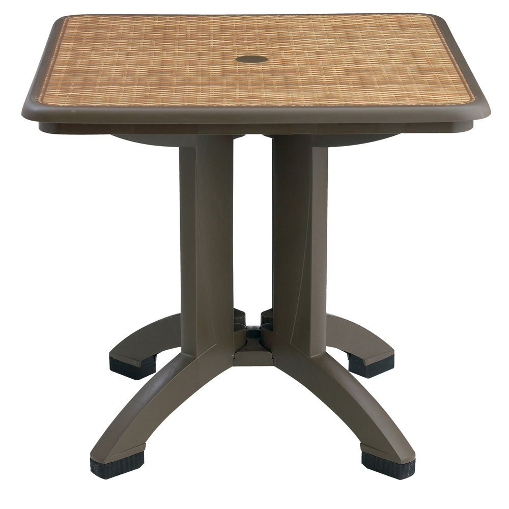 Grosfillex US743037 Havana 32'' x 32'' Square Resin Folding Table with Umbrella Hole - Espresso Wicker Finish