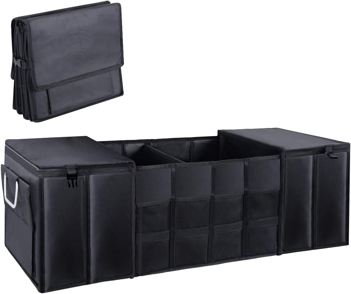 Tesla Car Trunk Organizer, Collapsible Portable Multi Compartments Trunk Storage Container for SUV,Truck,Vans,(Black)