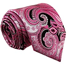 Shlax & Wing Necktie Paisley Pink Black Mens Tie Extra Long Size Wedding Party