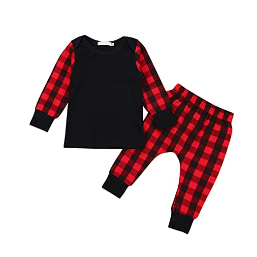 af70df2e5784 Newborn Baby Girls Boys Christmas Plaid Long Sleeve Cotton Tops T Shirt  Long Pants Outfits Clothes