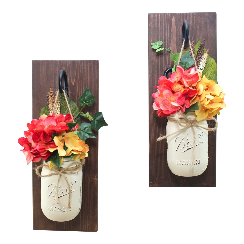 Set of 2 Coral Sunset Wall Sconce Mason Jar Floral Arrangement