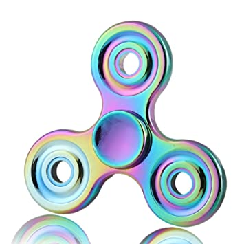 Premium Rainbow Fidget Spinner Metal Fidgit Toy With High Speed Ceramic Bearing