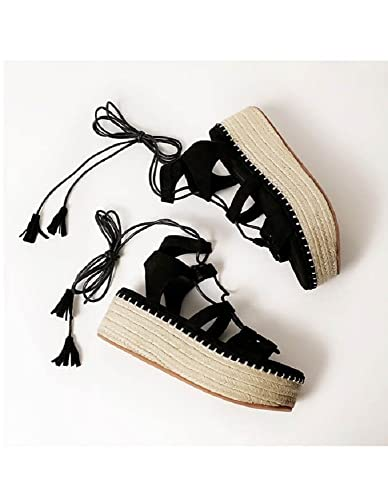 47cda48cf89 Amazon.com | Withchic Lace up Espadrille Flatform Sandals with ...