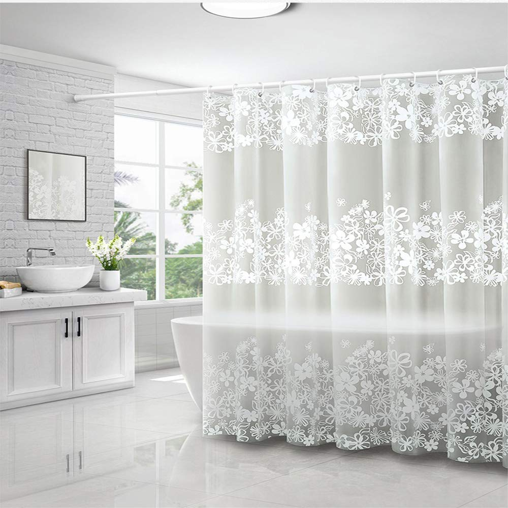Vr Idea Shower Curtain Romantic White Flowers Waterproof And Anti Mold Shower Curtains 180 180 Cm 71 71 Inch 100 Peva Bathroom Accessories With 12 Hooks Buy Online In Aruba At Aruba Desertcart Com Productid 159562935