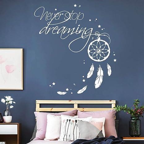 Wandtattoo Schriftzug Never Stop Dreaming Mit Traumfanger Weiss 55 X 60 Cm Amazon De Kuche Haushalt