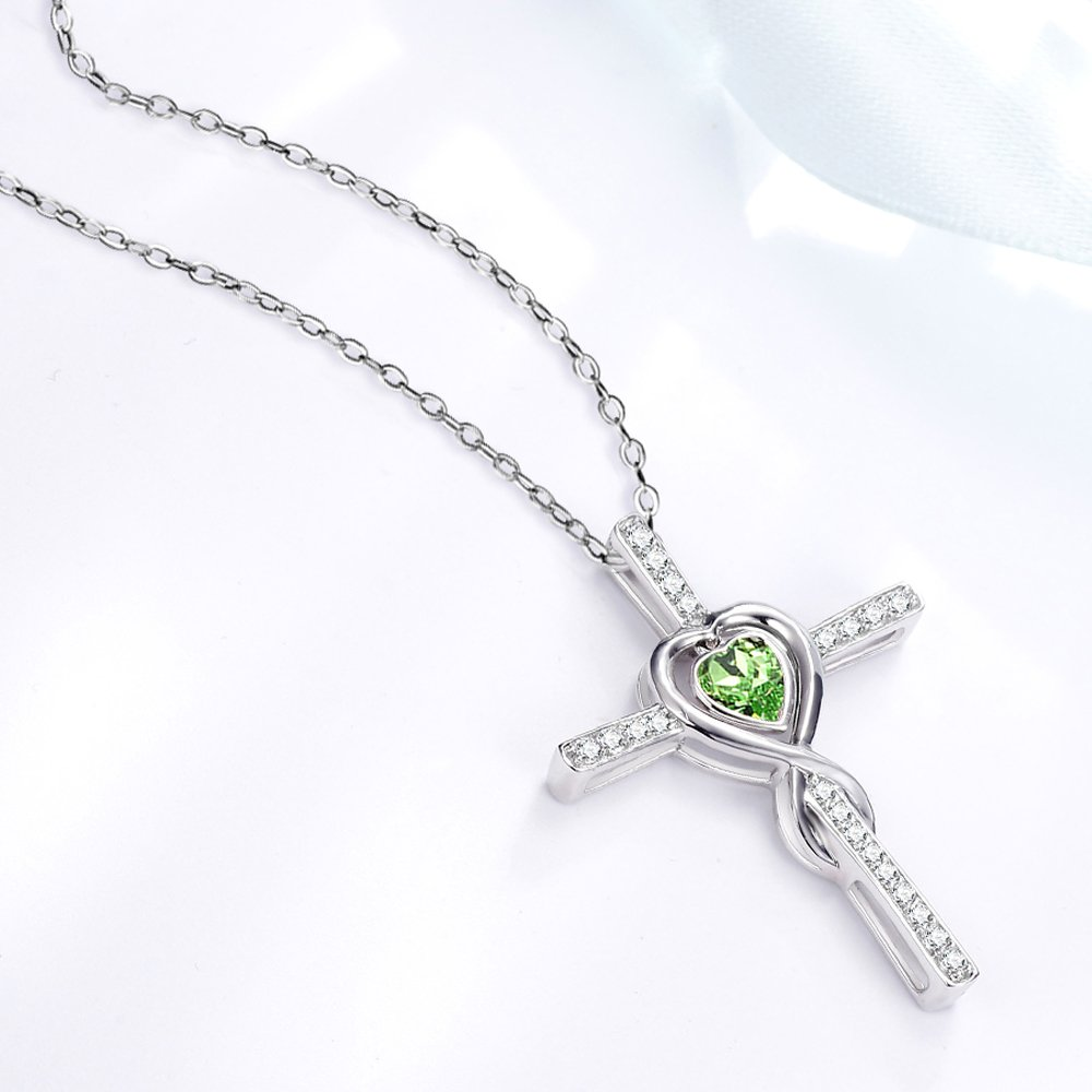 August Birthstone Green Peridot Necklace Birthday Gifts for Women I Love You Love Heart Sterling Silver Jewelry 20 Chain