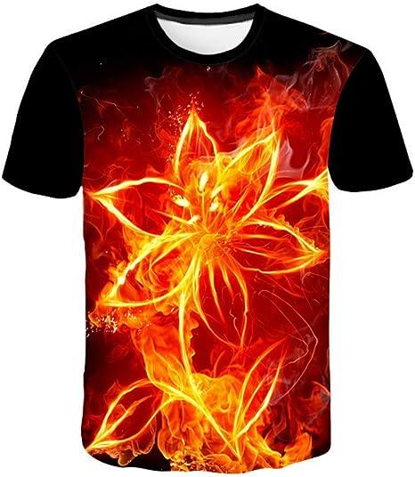 XIAOBAOZITXU T-Shirt Impression Num/érique 3D Manches Courtes Fleurs Flammes V/êtements Unisexe pour Amoureux V/êtements De Sport L/âches Et Ludiques De Grande Taille Et Grande Taille