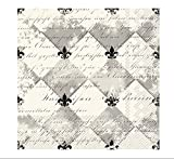 Celebrate the Home French Fleur De Lis 3-Ply Paper Cocktail Napkins, Cream/Black, 20-Count