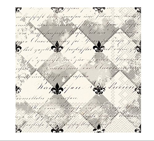 Fleur De Lis Napkin - Celebrate the Home French Fleur De Lis 3-Ply Paper Cocktail Napkins, Cream/Black, 20-Count