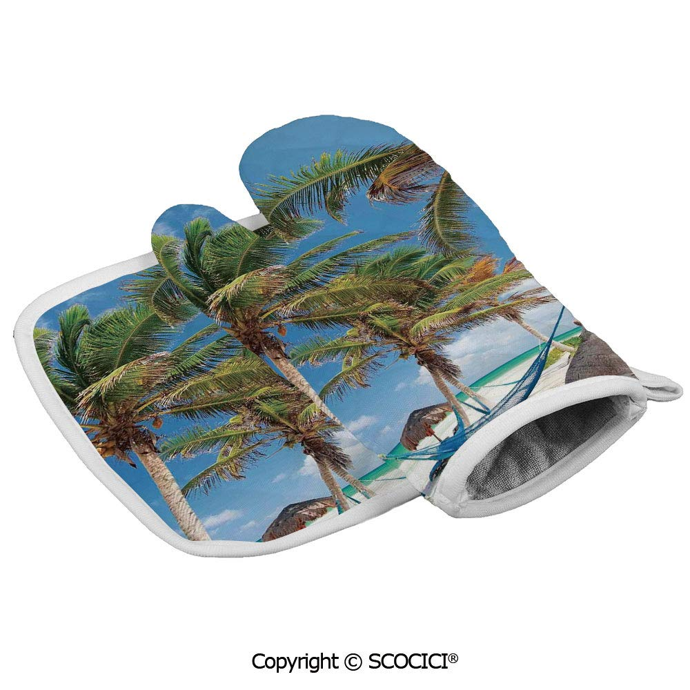 SCOCICI Oven Mitts,Professional Heat Resistant Hammock Palm Trees Sand Sunny Beach Non-Slip Kitchen Oven Glove for Cooking,Baking,Barbecue Potholders