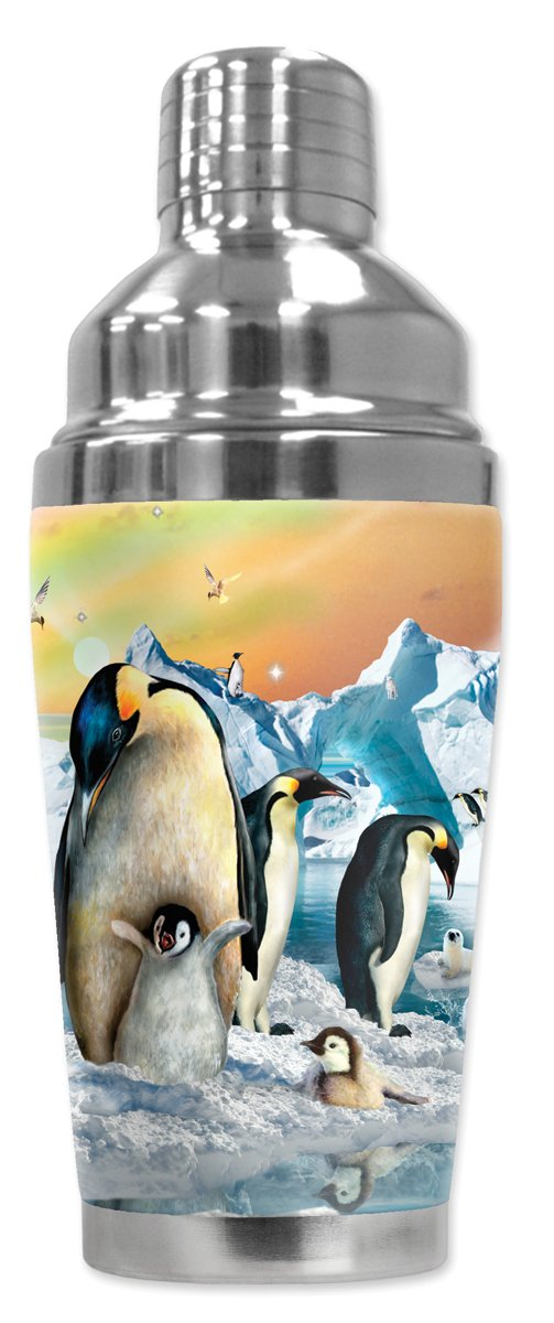 Mugzie brand 16-Ounce Cocktail Shaker with Insulated Wetsuit Cover Penguin Chicks