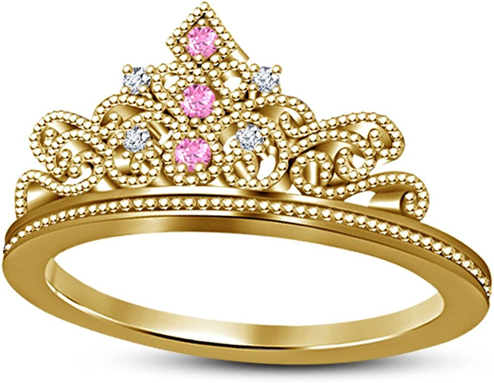 DS Jewels Womens Belles Yellow /& White Gold Plated Alloy Cubic Zirconia Crown Ring 1//4ctw Engagement Wedding Ring Size 4-11