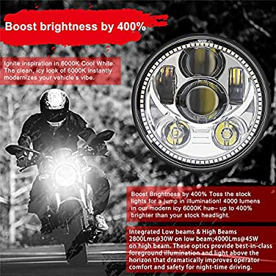 Wisamic 5-3/4 5.75 inch LED Headlight - with Halo DRL Compatible with Harley Davidson Dyna Street Bob Super Wide Glide Low Rider Night Rod Train Softail Deuce Custom Sportster Iron 883 -Silver: Automotive