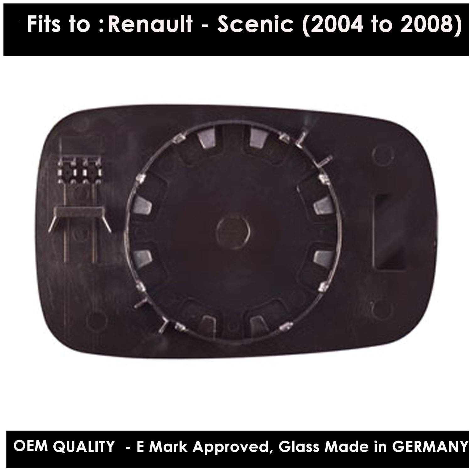 REScenic 2004 to 2008 Non Heated, Silver Door Mirror Glass Including Base Plate LH(Passenger Side)