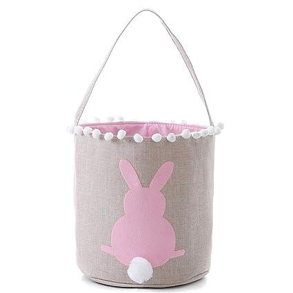 cd9562cf358e E-FirstFeeling Easter Basket Easter Bunny Bag for Kids Easter Egg Hunt Bag  Candy Basket Gifts Toys Bucket Tote (Pink)