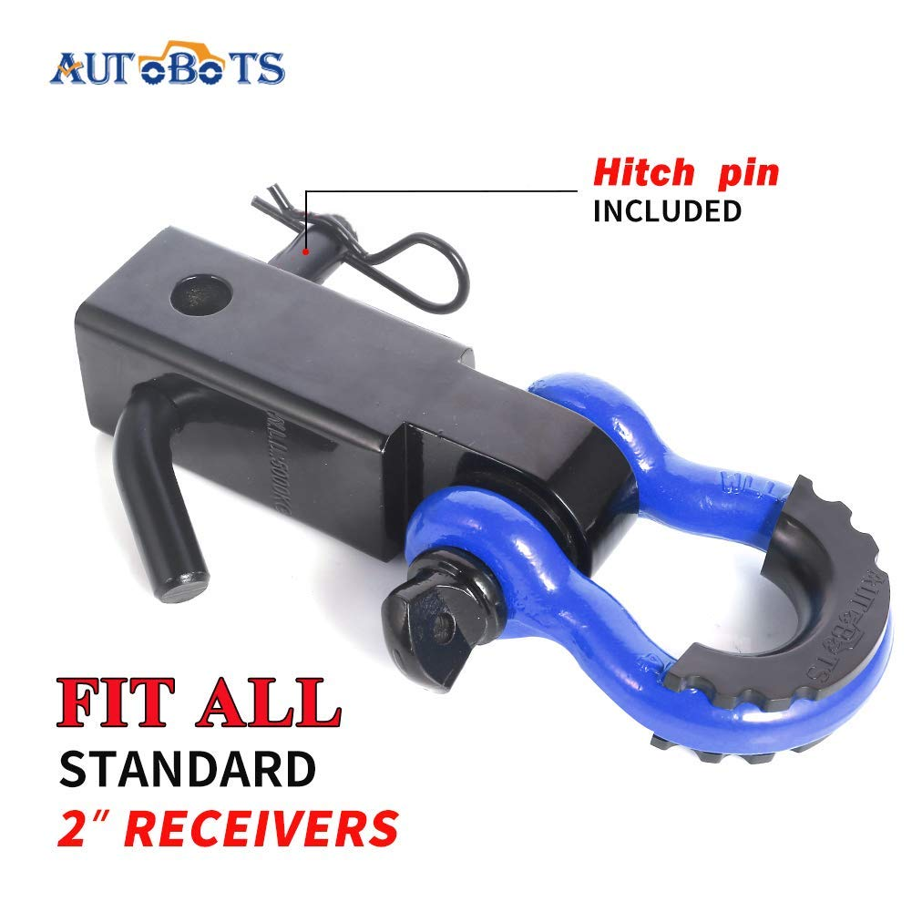 Towing Accessories for Jeep Vehicle Recovery Off-Road 3//4 Shackle AUTOBOTS Shackle Receiver 2 Red/&Black 35,000 Lbs Break Strength Heavy Duty Receiver with 5//8 Screw Pin