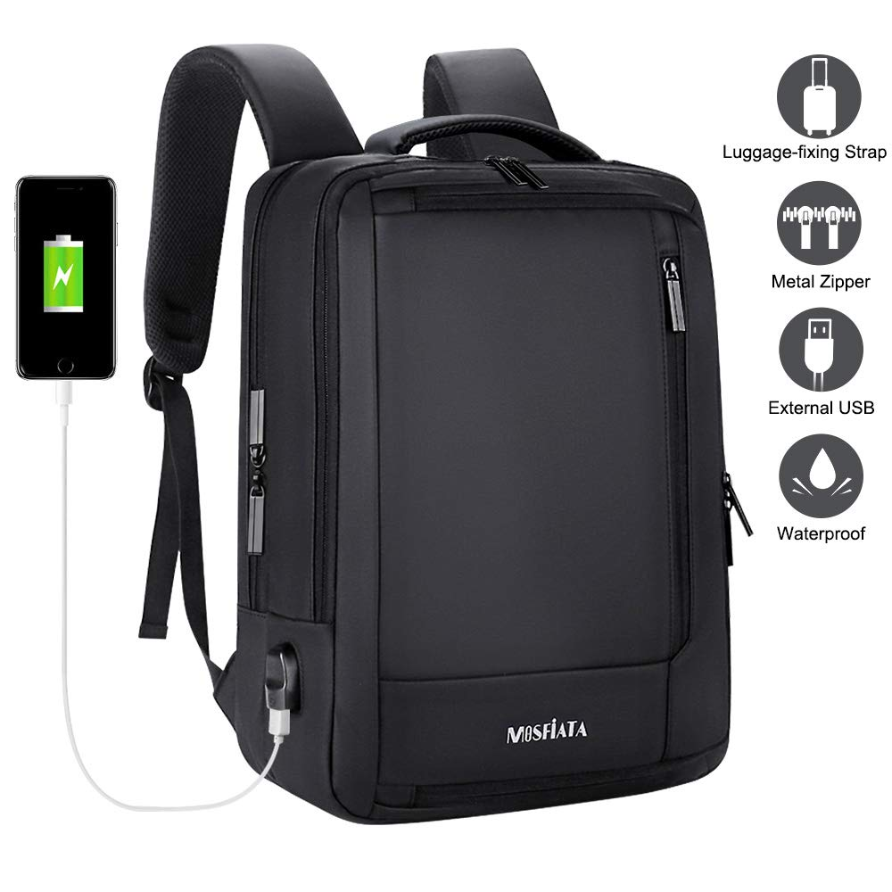 MOSFiATA Business Laptop Backpack 15.6 Inch Laptop & Notebook Backpack with USB Charging Port, 5 Sorting Layers and 7 Sorting Bags, Water Resistant Schoolbag for School, Business, Travel and Hiking by MOSFiATA (Image #8)