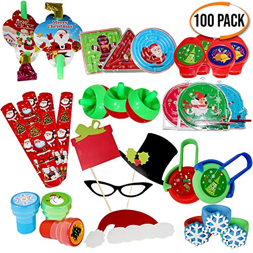 The Twiddlers 100 Pack Christmas Toys - Huge Assortment, Great Stocking Stuffers, Kids Party Bags Favors, Pinata Filler, Xmas Prizes and Birthday