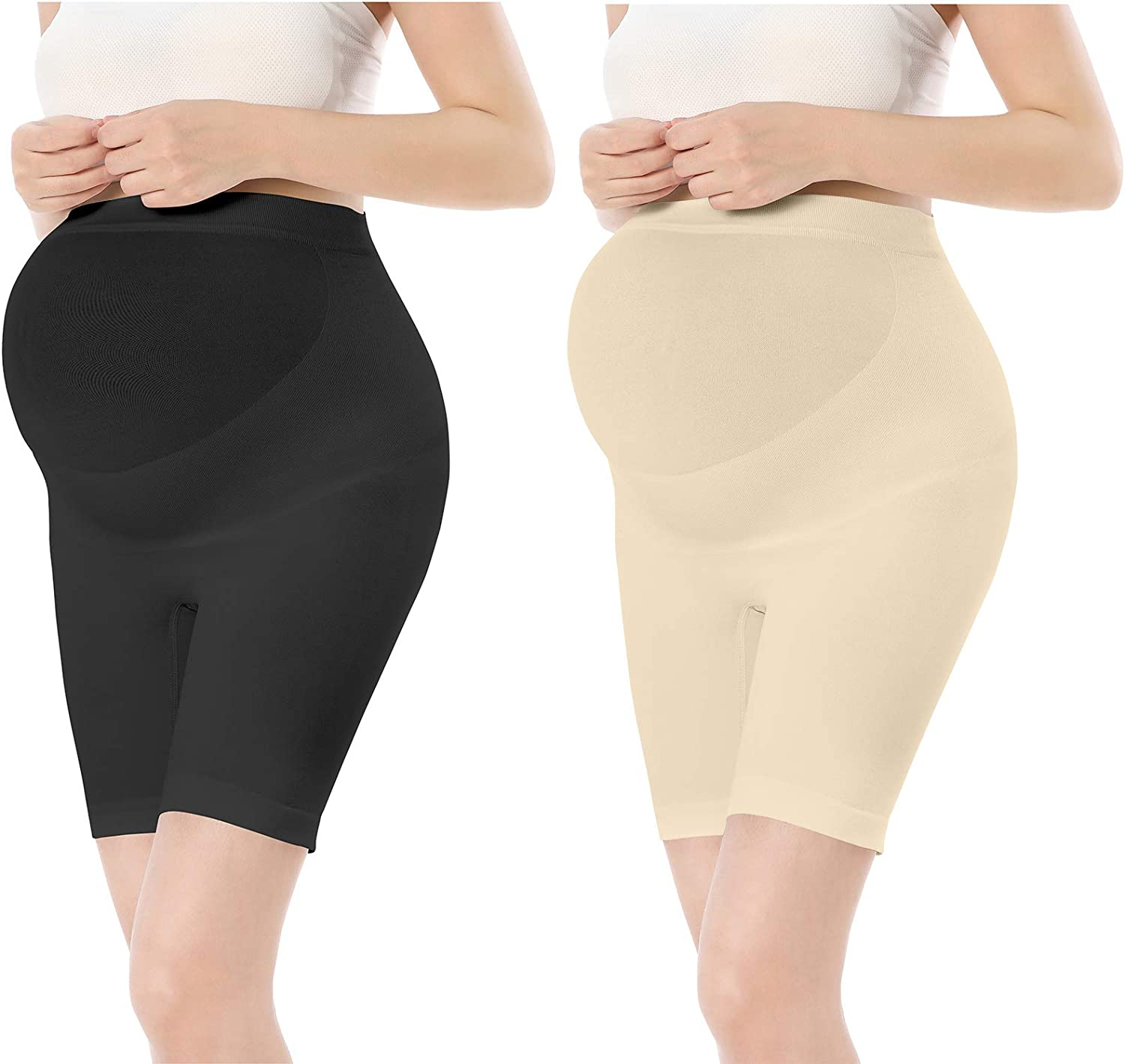 TOUCH LOOM Maternity Shapewear Pregnancy High Waist Over Belly Bump Support Mid-Thigh Pants Shorts for Women