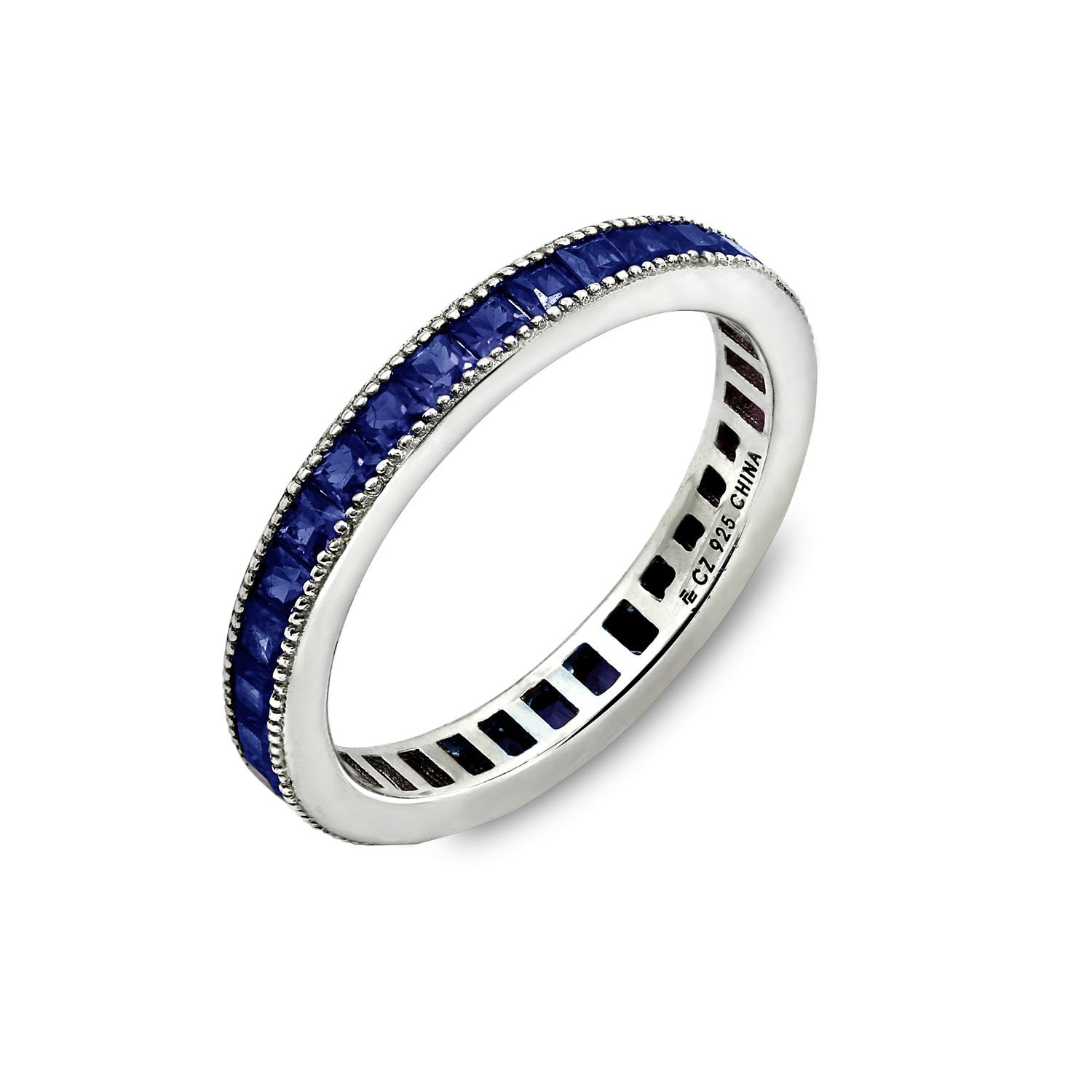 Diamonbliss Rhodium Plated Sterling Silver 1.3 ct Blue Sapphire Cubic Zirconia Eternity Ring- Sapphire, Size 5