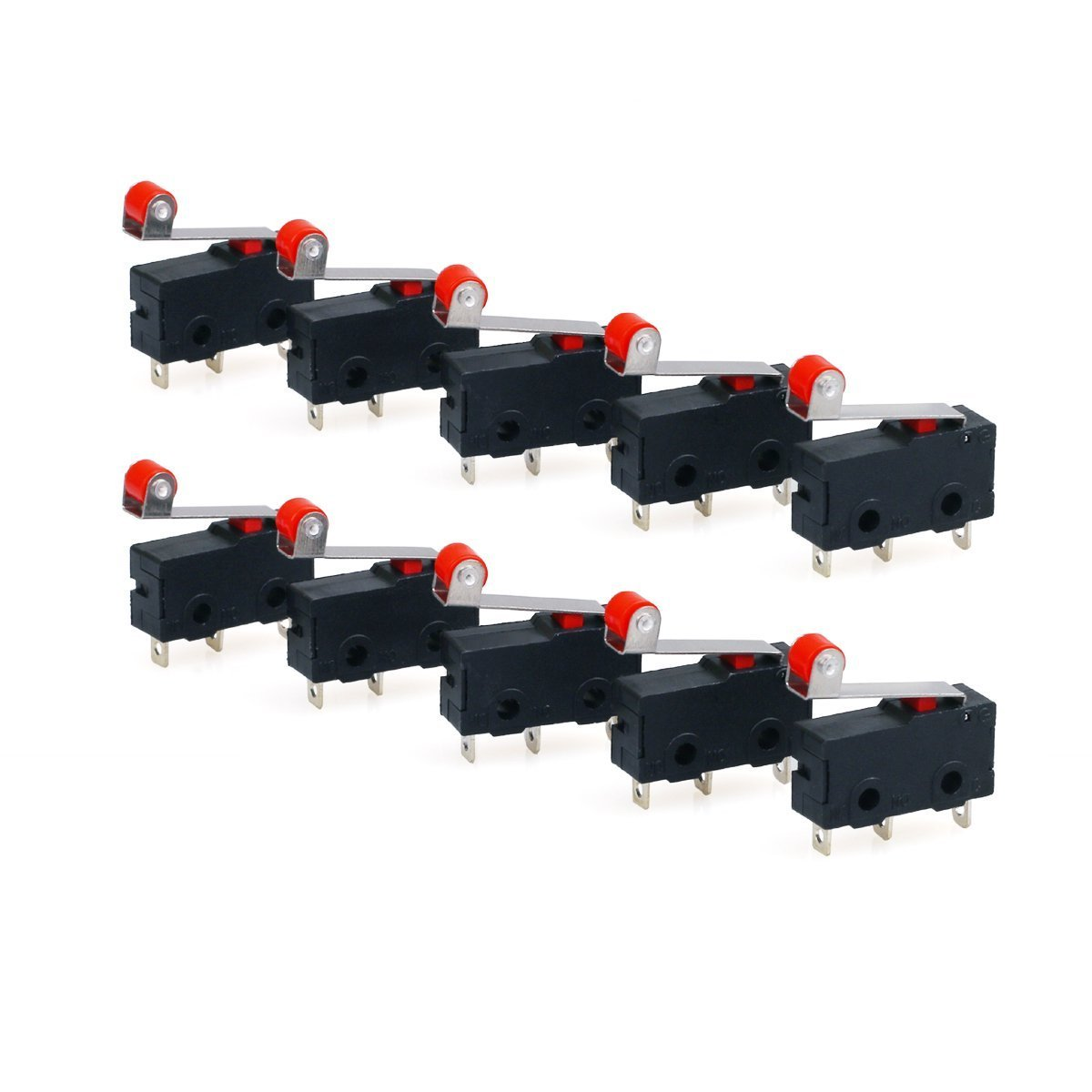 Urbestac 250v 5a Spdt 1no 1nc Momentary Hinge Roller Micro Switch With Lever Switches 3 Pins 10 Pcs Home Improvement
